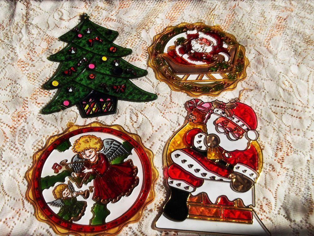 Vintage Plastic Christmas Decorations/ Suncatchers /Retro Decorations