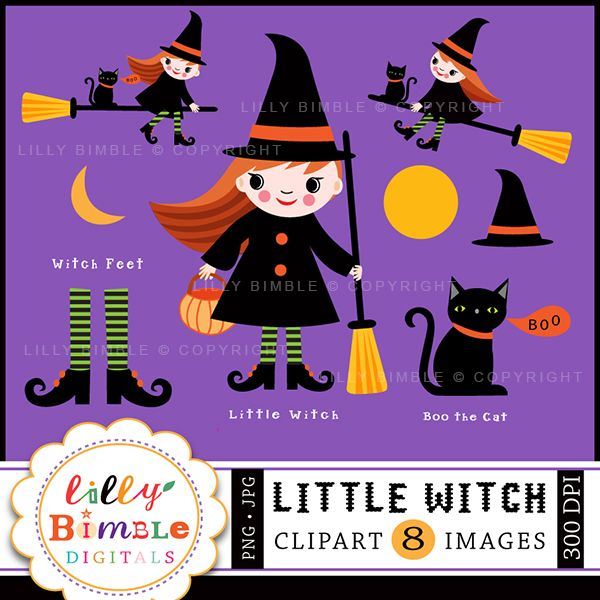 Little Witch - Adorable Halloween Clipart graphics for invitations, crafts, web design and more.