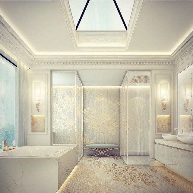 Master bathroom design doha private palace qatar for Bathroom interior design london