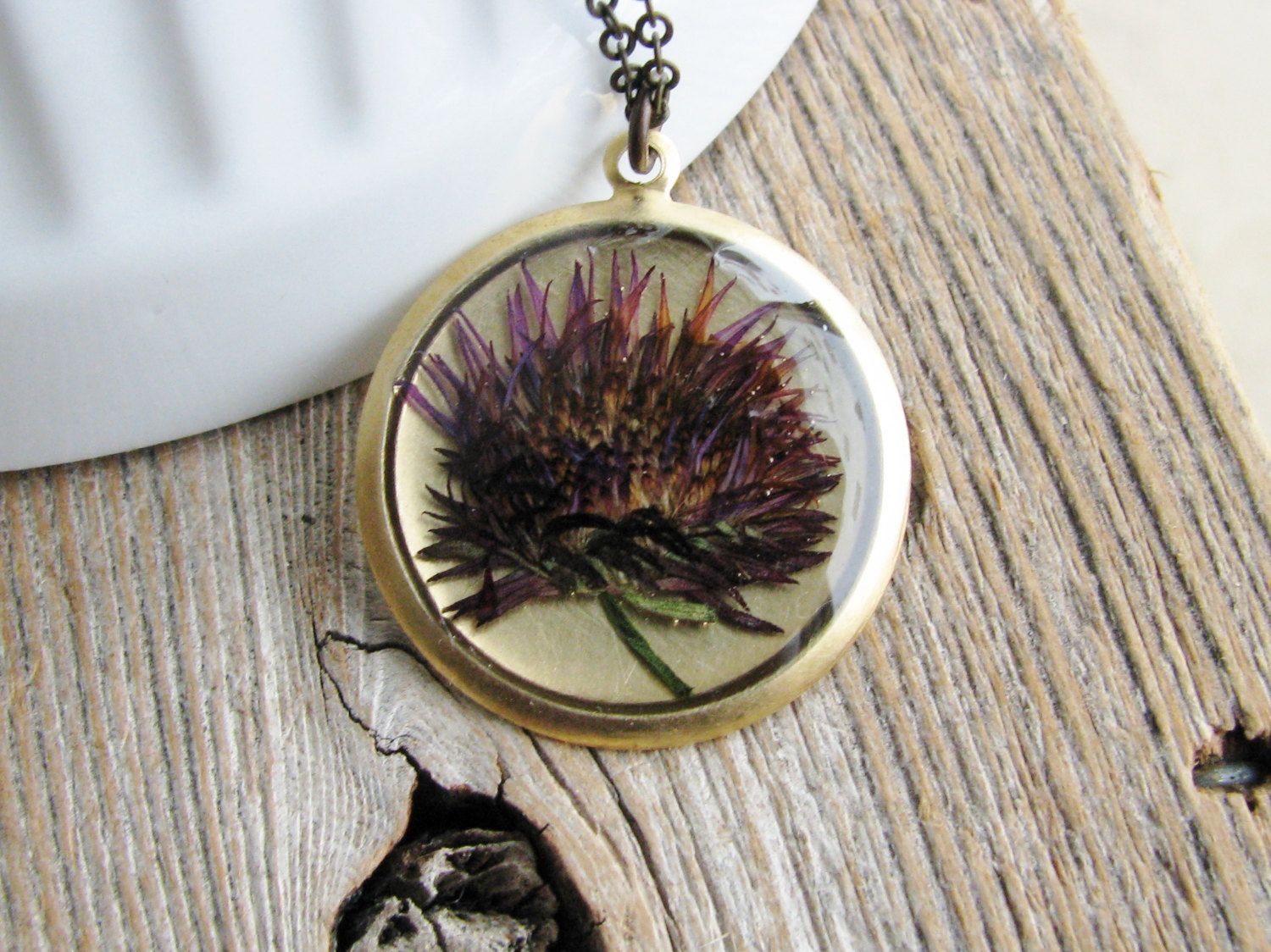 Pressed Aster Flower Necklace Botanical Jewelry By Kateemarie 28 00 Flower Necklace Aster Flower Botanical Jewelry