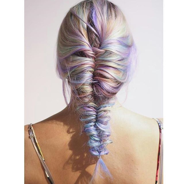 WOW Love Love LOVE this pastel color done by @brennemananderson and braid done by @nataliereij  It just screams UNICORN!! Thanks for tagging #unicorntribe Please follow @brennemananderson @nataliereij @brennemananderson @nataliereij  #modernsalon #americansalon #behindthechair #pastelhair #rainbowhair #unicornhair #braid #fishtail #hairoftheday #postoftheday