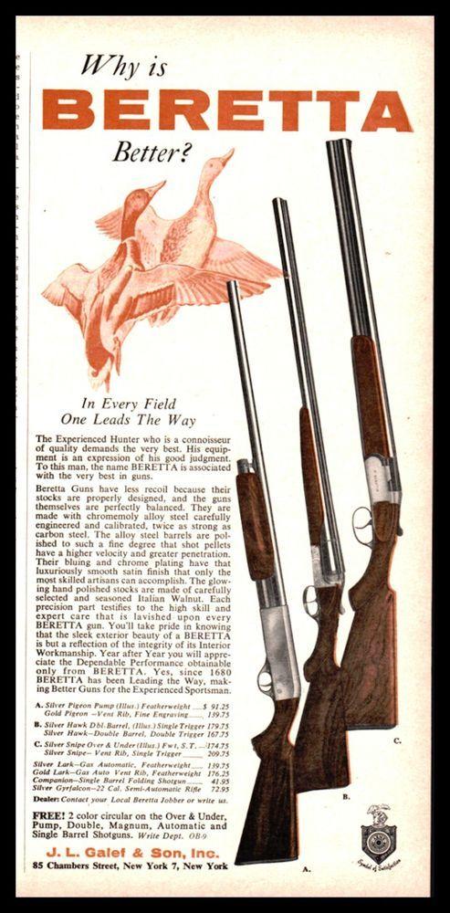 1960 BERETTA Silver Pigeon, Hawk & Snipe Shotgun AD Vintage
