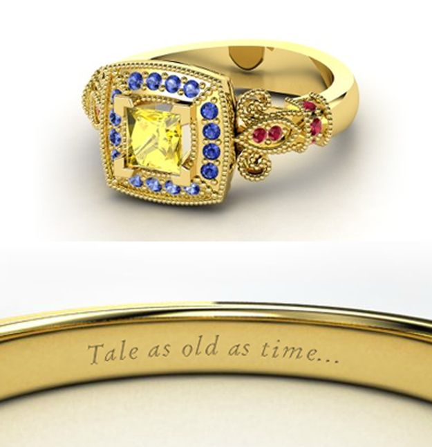 Belle sleeping beauty wedding ring Yellow blue and red