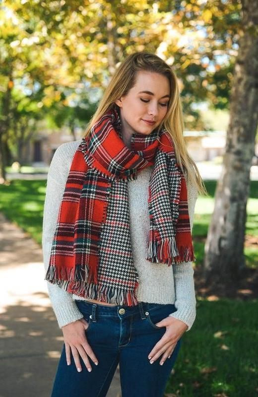 7c867c6833241 Red and Black Plaid Reversible Scarf