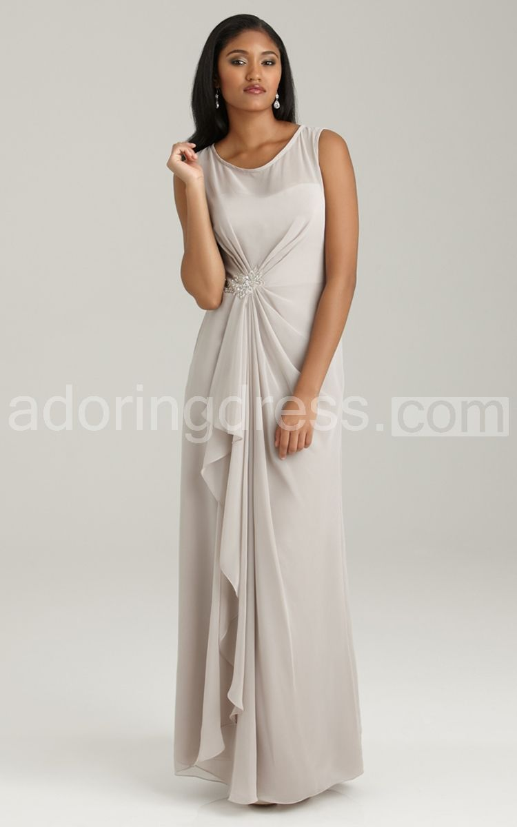 Charming sleeveless long gathered chiffon gown adoring dress
