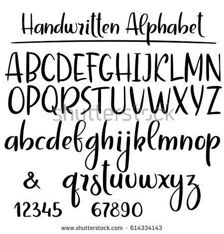 Handwritten Alphabet Modern Calligraphy Brush Font Uppercase Lowercase Vector Letters Lettering Alphabet Fonts Brush Lettering Alphabet Lettering Alphabet