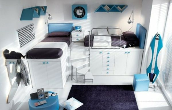 blaue Akzente-Jugendliches Zimmer coole zimmer Pinterest - farbe gruen akzent einrichtung gestalten
