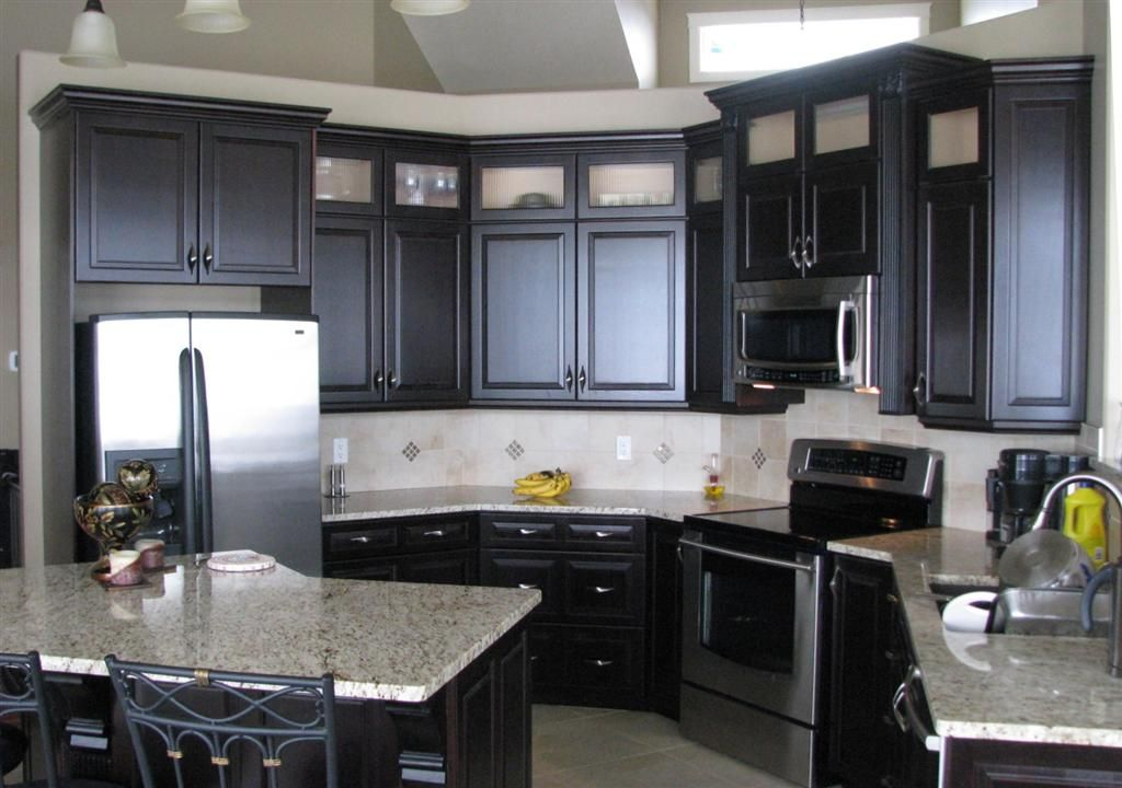 Black Kitchen Cabinets Granite Jpg 1024 720 Black Kitchen Cabinets Black Kitchens Blue Gray Kitchen Cabinets