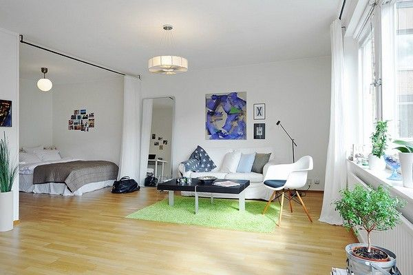 10 Small One Room Apartments Featuring A Scandinavian Decor Small Studio Apartment Decorating Apartment Bedroom Decor Apartment Room