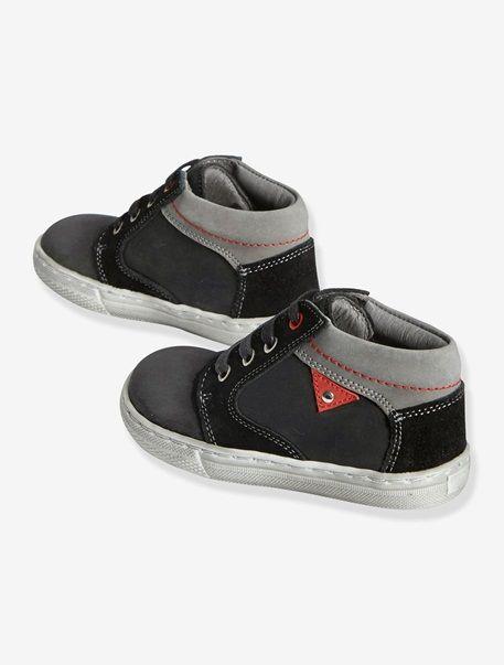 Zapatillas de piel con caña alta, para niño negro