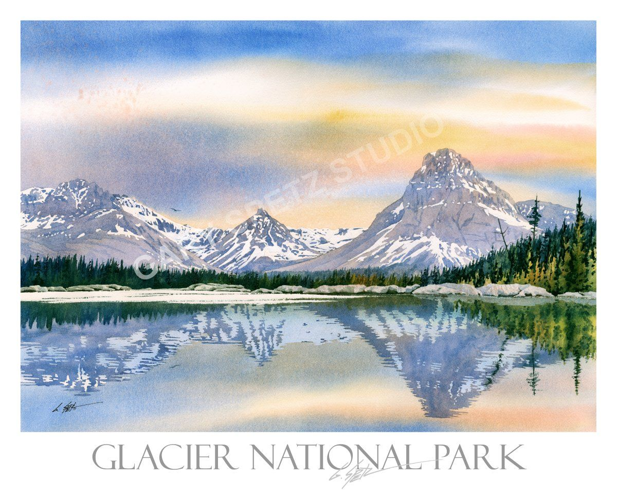 Watercolor Giclee Print By Gary Spetz Middle Two Medicine Lake