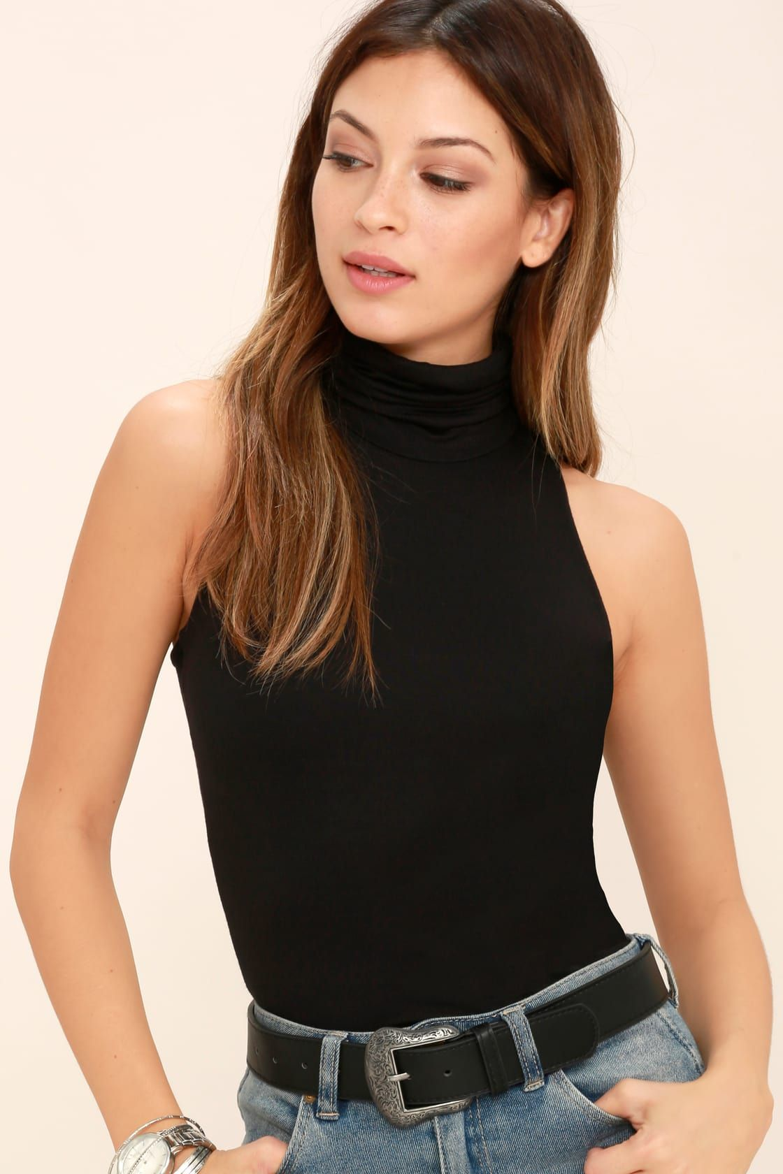 fdcad2b1f8 Lulus | Alive and Kicking Black Sleeveless Turtleneck Top | Size ...