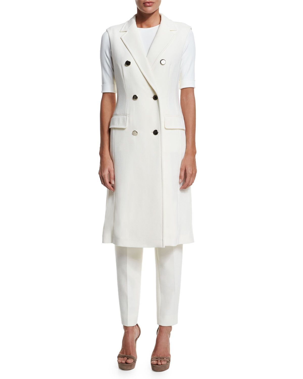 a067d56b10a936 Double-Breasted Sleeveless Long Jacket