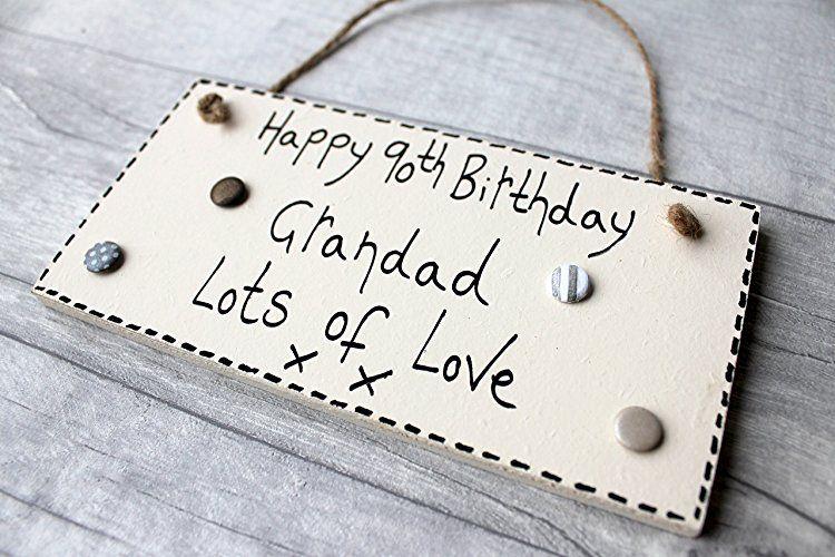 MadeAt94 90th Birthday Gifts Plaque Grandad Handmade