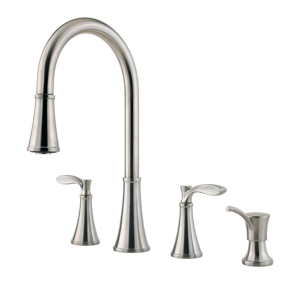 $182.00 Pfister Petaluma 2 Handle Pull Down Sprayer Kitchen Faucet With  Soap Dispenser In