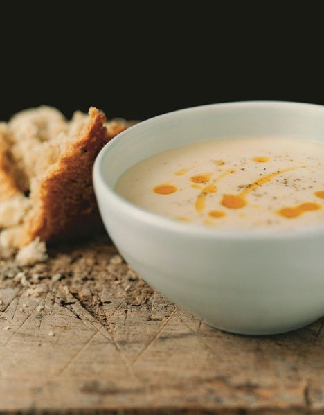 white beans soup with almonds and roe