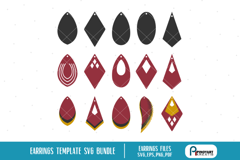 Download Earrings Template Svg Bundle | Leather earrings, Templates ...
