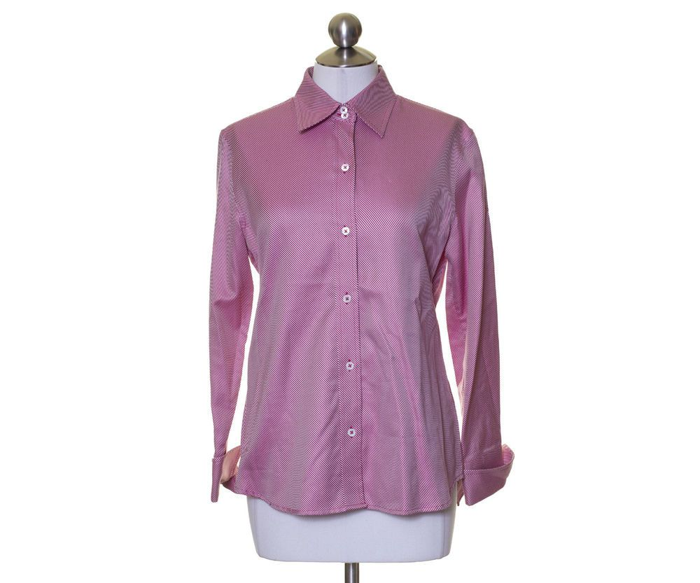 Banana Republic White Dark Pink Twill Button Down Smooth Cotton Shirt Size M #BananaRepublic #ButtonDownShirt #Casual