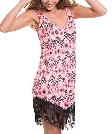 $22.99  Salmon & Black Geometric Fringe Cover-Up on #zulily! #zulilyfinds