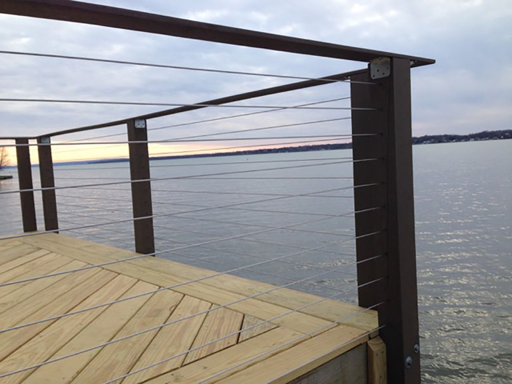 Lake House in Cayuga, NY has a new deck and cable railing with ...