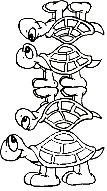 Four Turtle Cute Coloring Page Turtles Fun Pinterest Cute