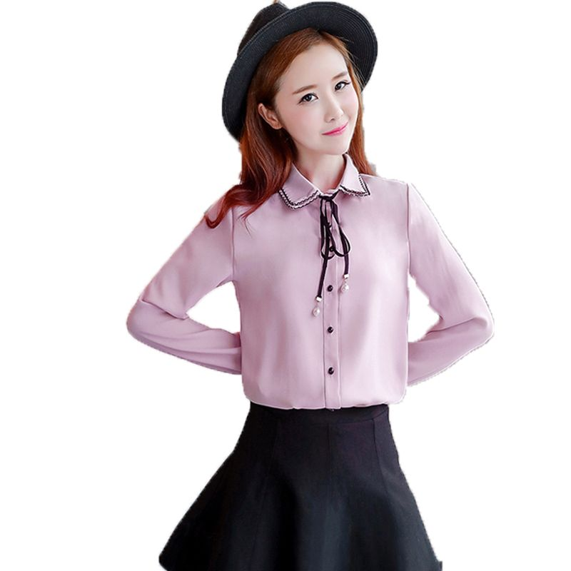 Click to Buy << Office Women's Chic Classy Shirts Pink Blue White Chiffon.  >>