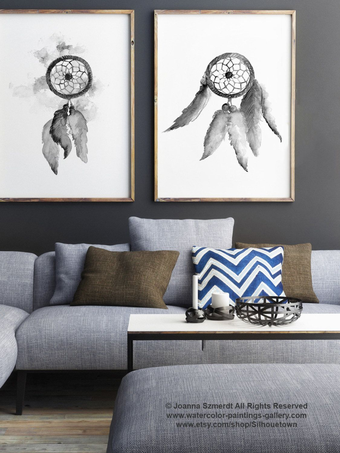 Gray Dream Catcher Set Of 2, Native American Abstract Art Print, Feather  Wall Decor, Dreamcatcher Black White Drawing By ColorWatercolor On Etsy