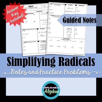 Simplifying Radicals Square Roots Guided Notes And Practice Simplifying Radicals Simplifying Radicals Notes Guided Notes Dividing radicals worksheet answer key