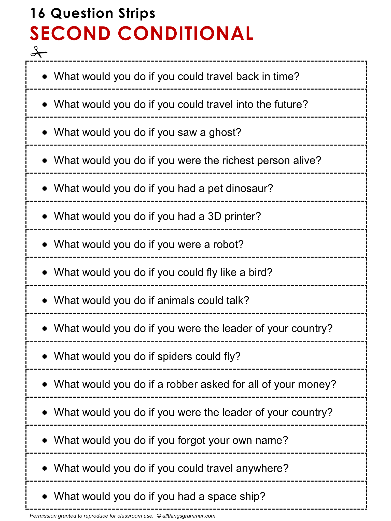 English Grammar Discussion Practice Second Conditional, 16 Question Strips. http://www.allthingsgrammar.com/second-conditional.html