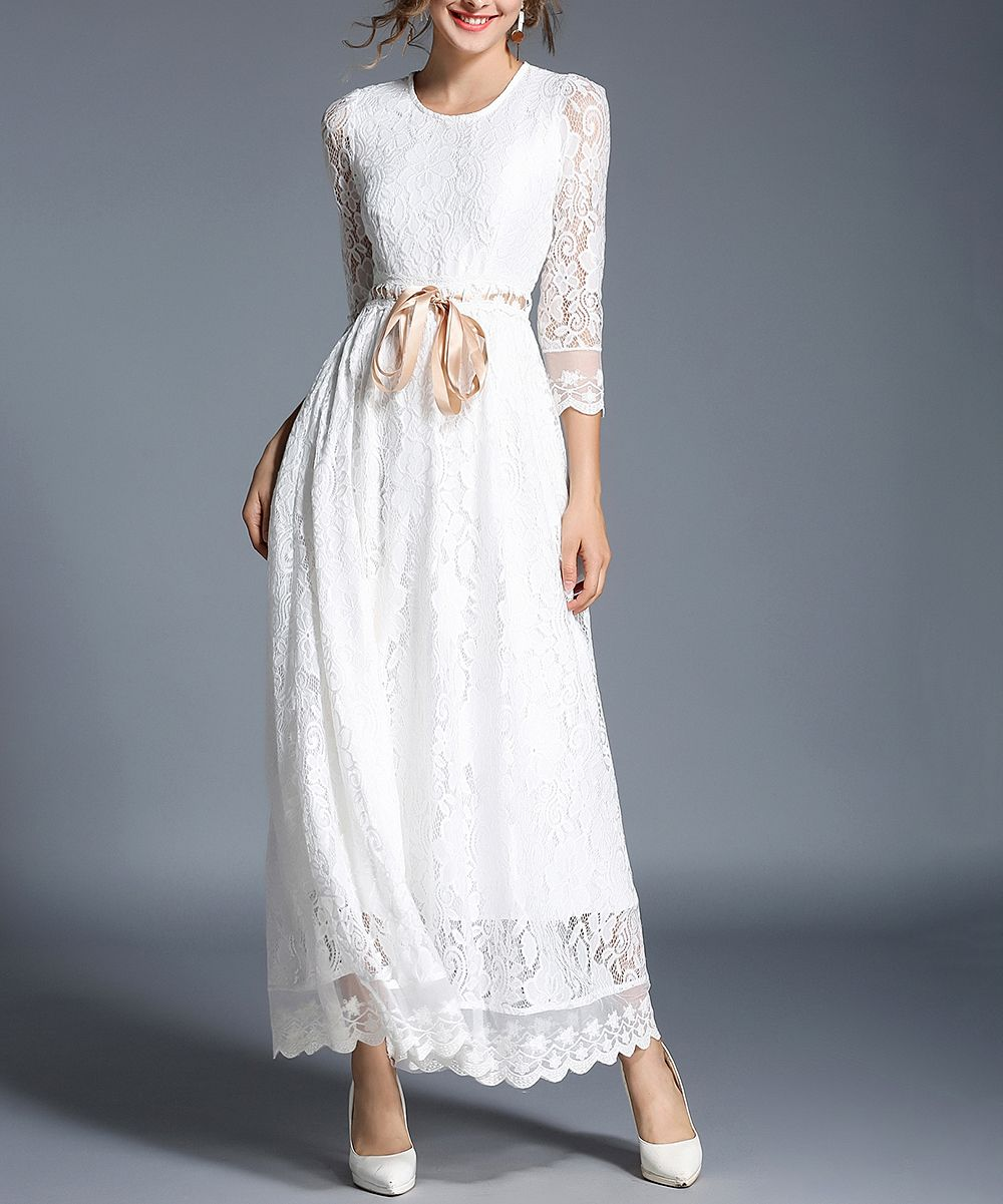 LAKLOOK White Lace Tie-Waist Maxi Dress - Women  Zulily  Womens