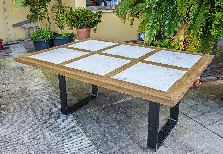 Tavolo da esterno in legno e marmo   Tavoli in legno ...