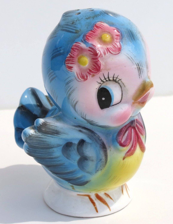 Vintage Lefton Blue Bird Shaker Female Adorable