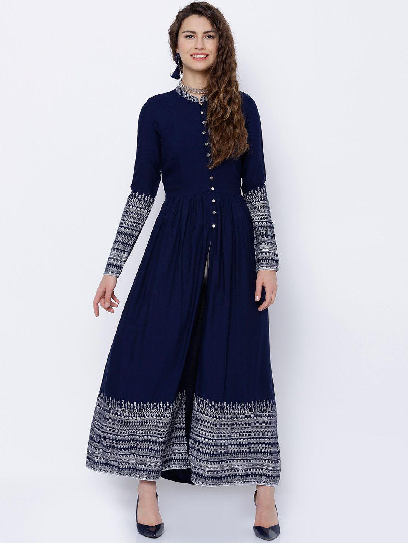 b18f825955b Vishudh Navy Blue Long Sleeve Printed A-Line Kurta