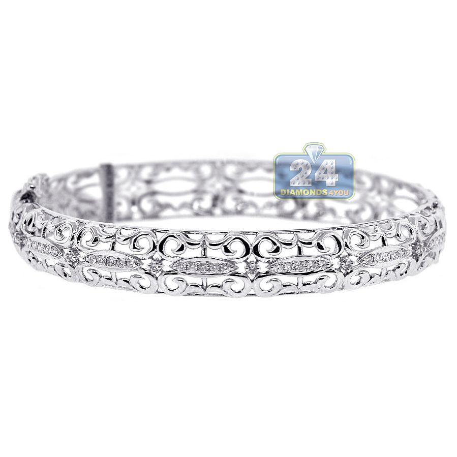 K white gold ct diamond womens filigree bangle bracelet