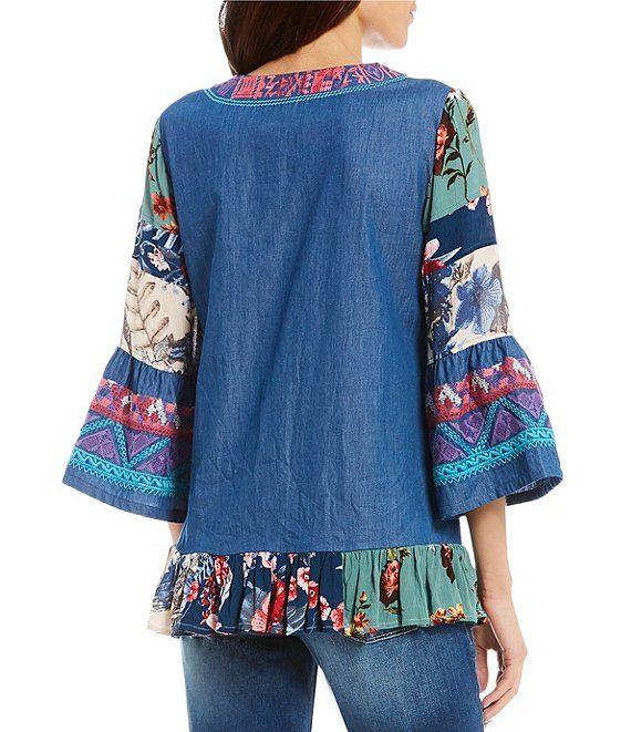 165d0713f1f21f Calessa Rose Embroidered Bell Sleeve Split V-Neck Tunic | Dillard's
