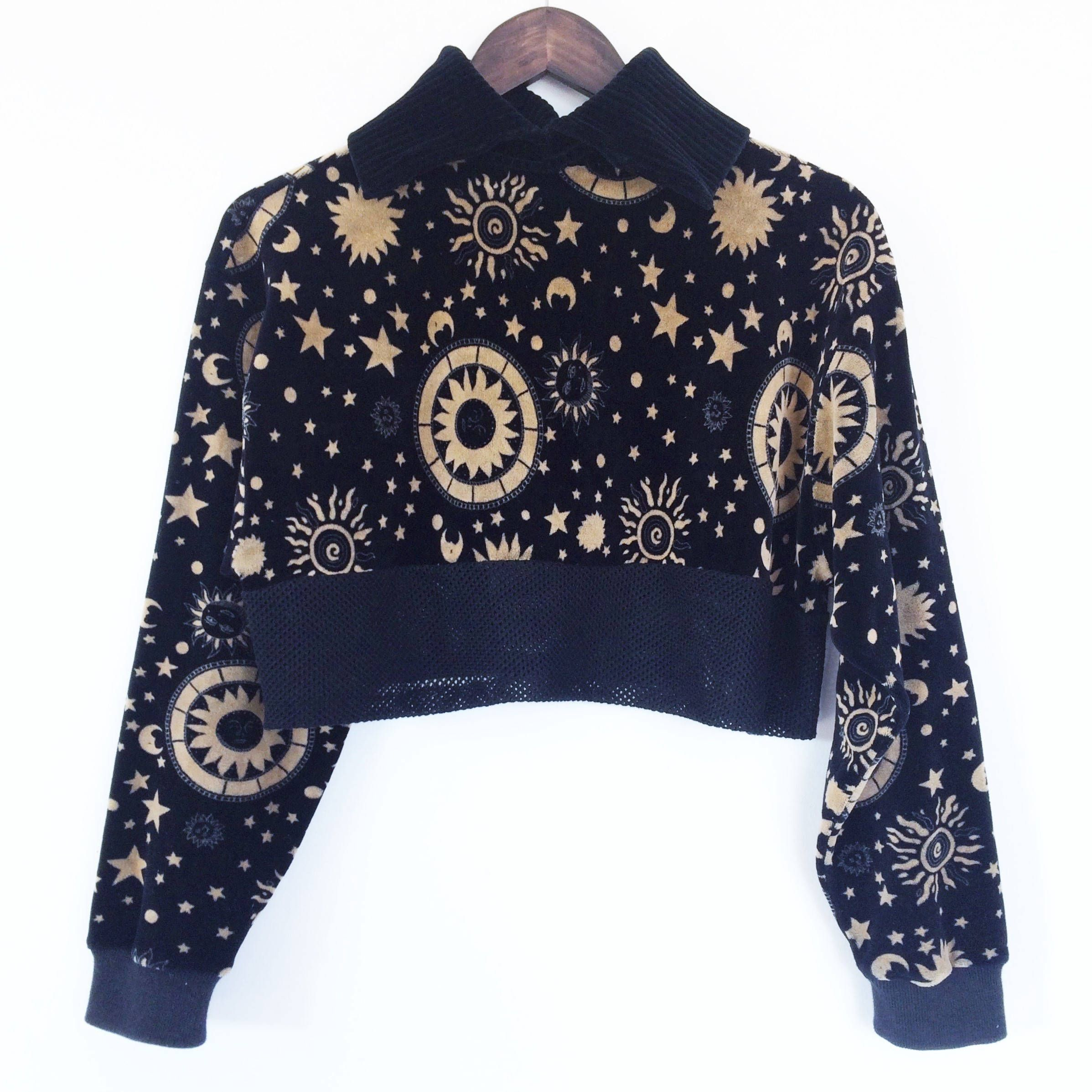 9d04830ea3 Zodiac Vintage 90s Celestial print top in velour with sporty mesh trim -  one of a