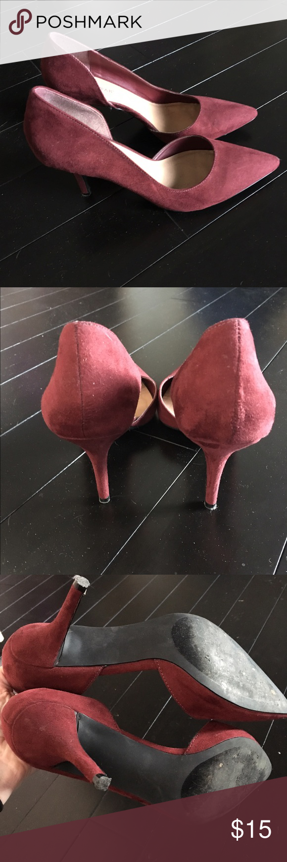 JustFab Burgundy D'Orsay Pumps Beautiful faux suede pumps. Only worn once. I have flat feet and this style of shoe just doesn't have the support I need. In great condition. JustFab Shoes Heels