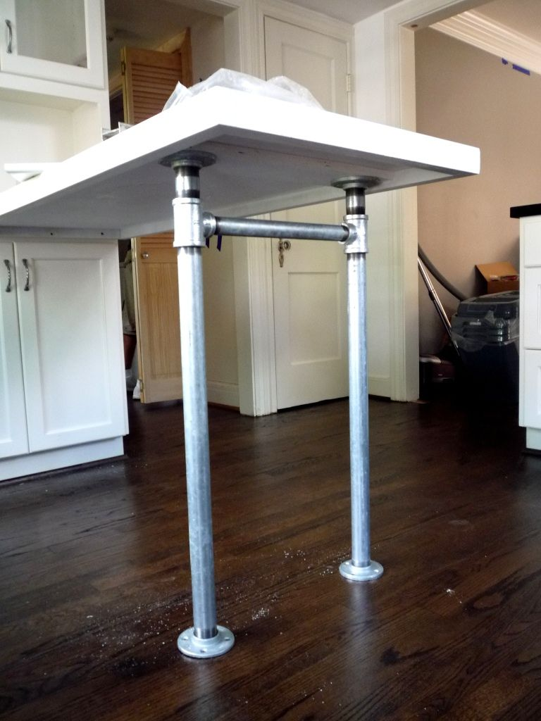 Peninsula Countertop With Galvanized Plumbing Pipes Parts For The Legs Feet I Used Ts Stretcher And Floor S