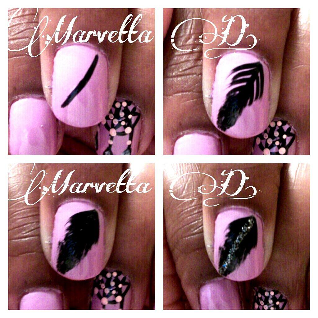 Feather Nail Art Tutorial Marvetta Ds Nail Designs Pinterest