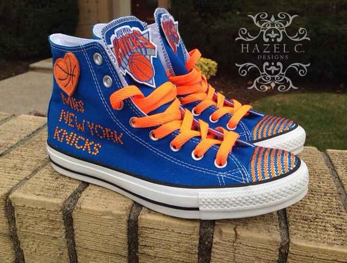 f7d3cab6b508 New York Knicks themed custom Converse All Stars. Represent your favorite  NBA team with these custom kicks. Adults NBA custom Converse sneakers.
