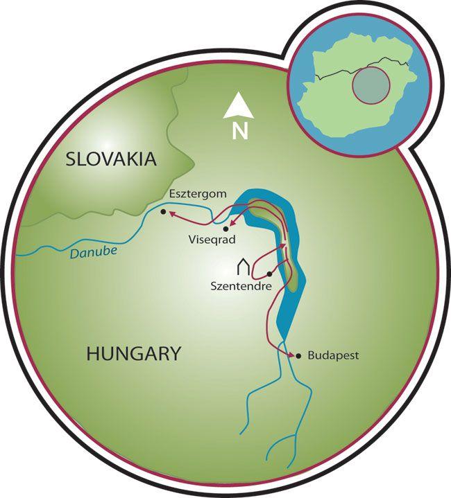 Bike Europe Budapest the Danube River Bend Map Travel Bucket