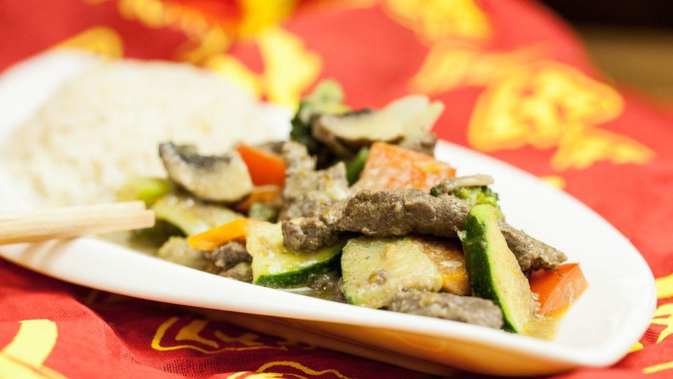 Grünes Rindfleisch-Curry