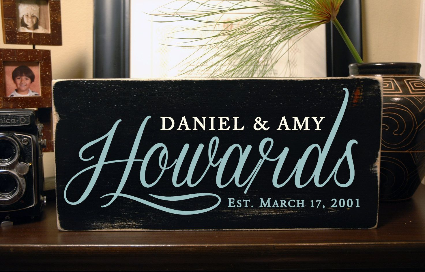 Handmade family signs with first names, last name and est