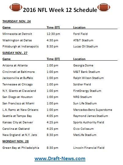 picture regarding Nfl Week 12 Printable Schedule identify Printable 2016 NFL 7 days 12 Routine NFL Nfl 7 days, Nfl