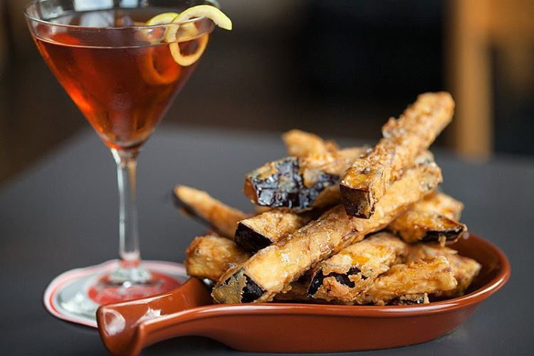 Eggplant fries with sea salt and honey.