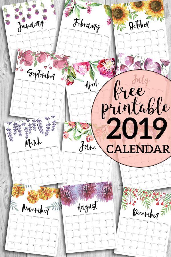 Free Printable Calendar 2019 - Floral. Watercolor Flower design style calendar. Monthly calendar pages. Cute office or desk organization. #papertraildesign #2019calendar #printablecalendar #2019printablecalendar #calendarprintable
