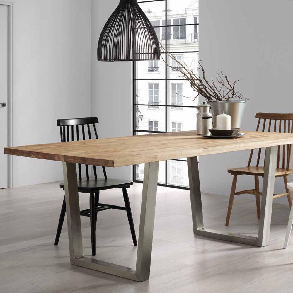 Tavolo in legno e acciaio inox Leo 200x100 cm. Gambe in metallo ...