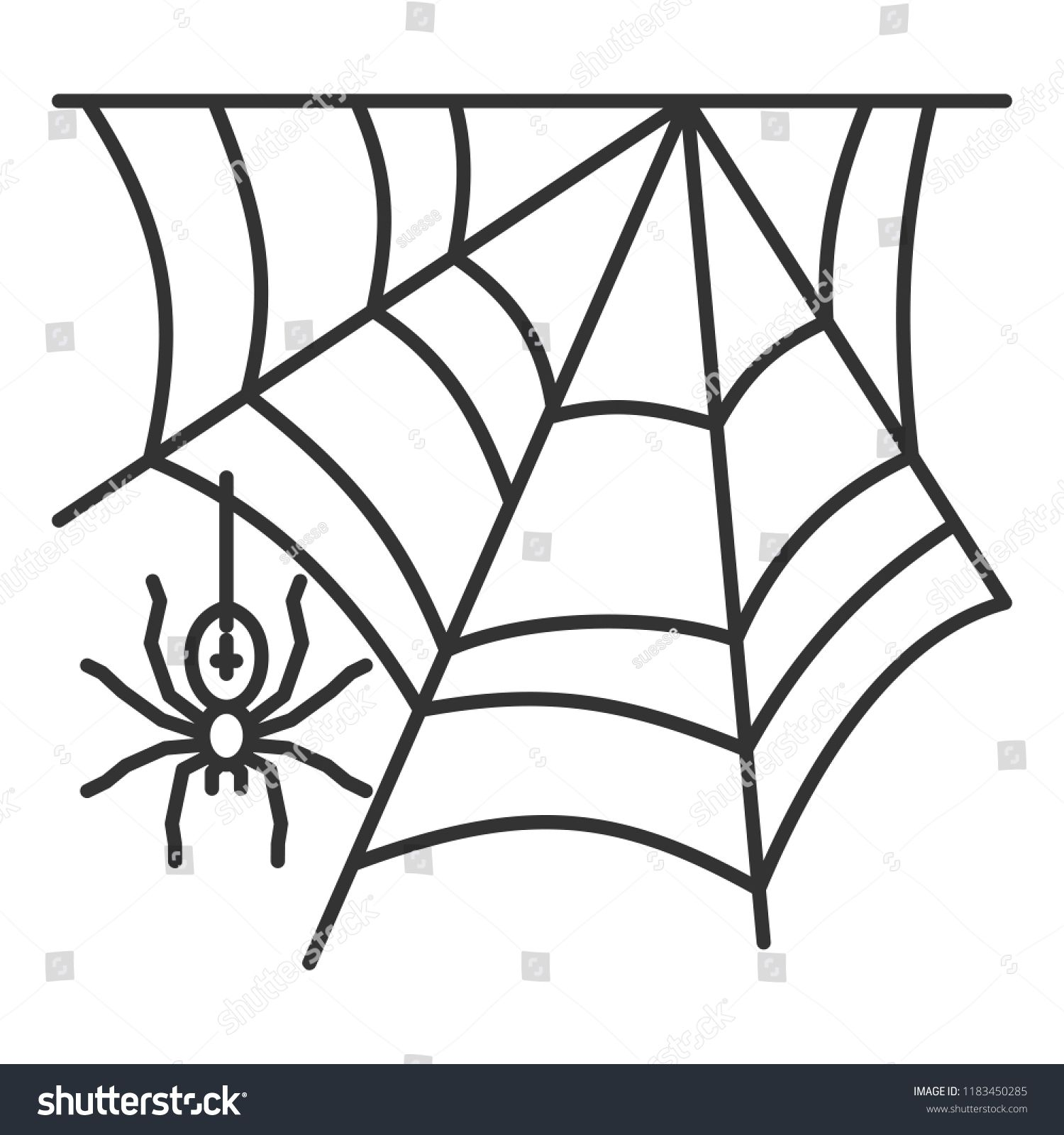Spider web thin line icon. Cobweb vector isolated on white