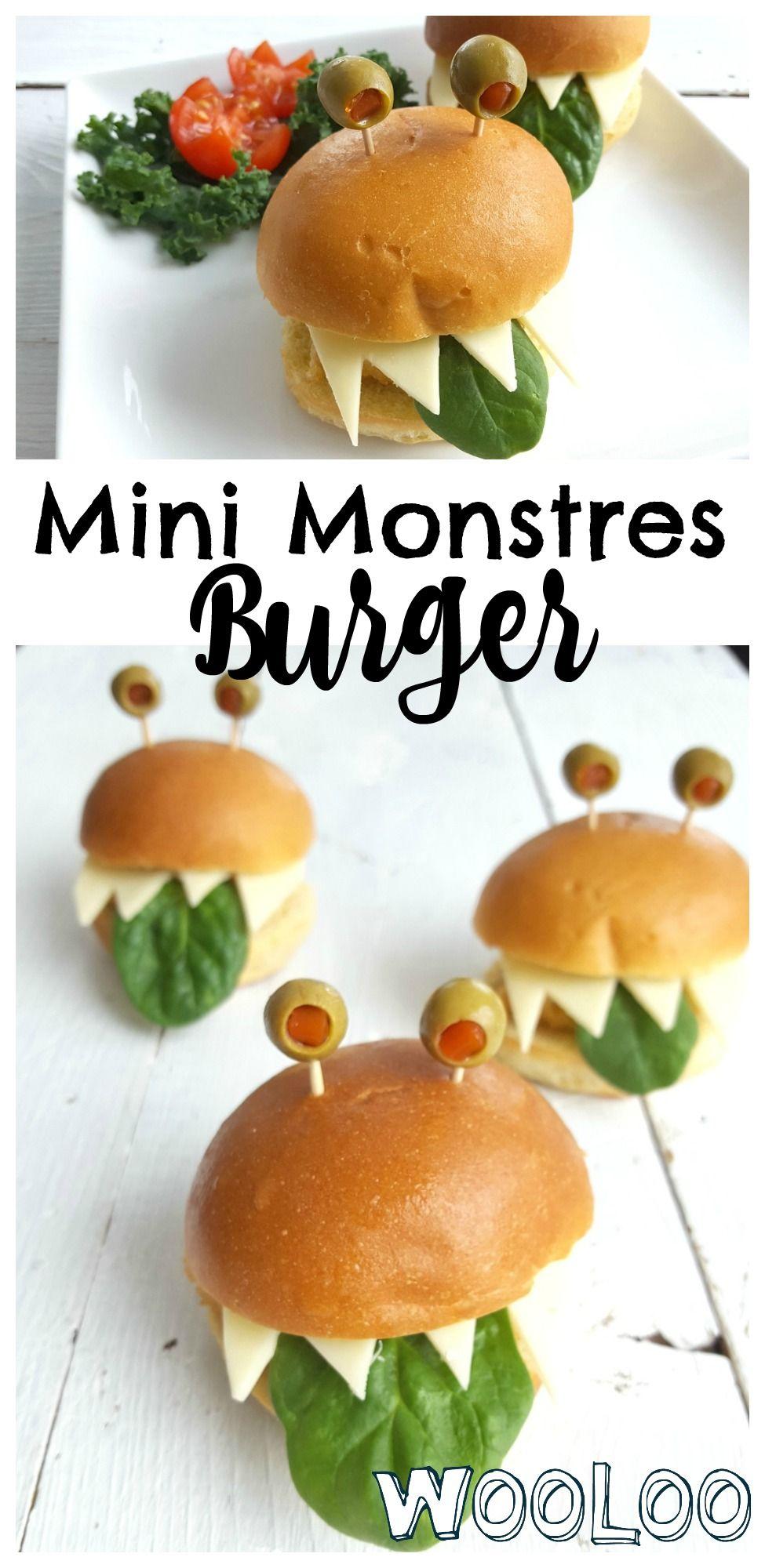 Faites sourire les enfants Mini Monstre Burger pour souper #recette #foodart #funfood #joueavectanourriture #playfood