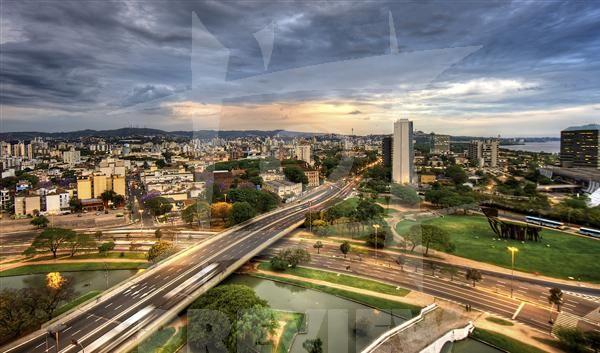 Vista aérea do Centro de Porto Alegre.